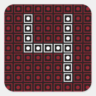 Trendy Red, White & Black 8-bit LED Pixel Number 4 Square Sticker