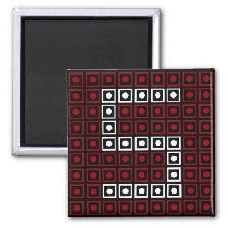 Trendy Red, White & Black 8-bit LED Pixel Number 5 Magnet