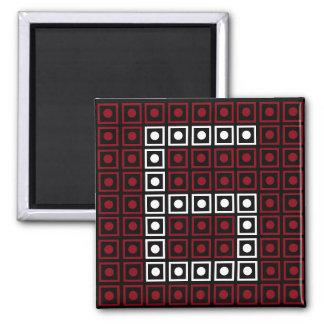 Trendy Red, White & Black 8-bit LED Pixel Number 6 Magnet