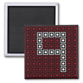 Trendy Red, White & Black 8-bit LED Pixel Number 9 Magnet
