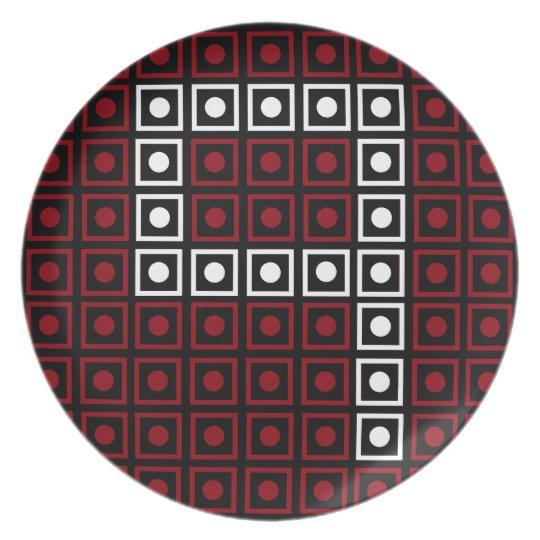 Trendy Red, White & Black 8-bit LED Pixel Number 9 Plate