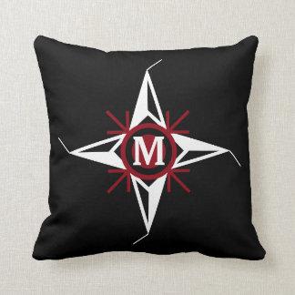 Trendy Red & White North Star Monogram on Black Cushion