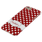 Trendy Red White polka dots Monogram iPhone 6 Plus Barely There iPhone 6 Plus Case