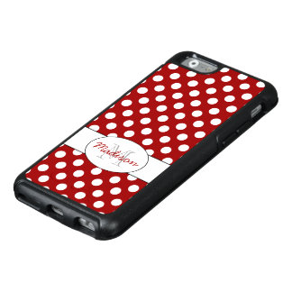 Trendy Red White polka dots Monogram OtterBox iPhone 6/6s Case