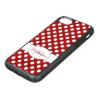 Trendy Red White polka dots Monogram OtterBox Symmetry iPhone 8/7 Case