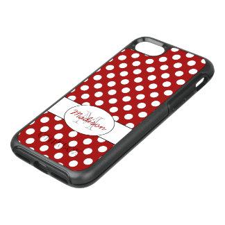 Trendy Red White polka dots Monogram OtterBox Symmetry iPhone 8/7 Case