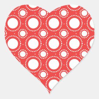 Trendy Red & White Polka Dots Pattern Heart Sticker