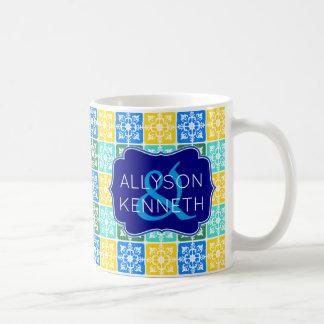 Trendy Resort Fashion Mediterranean Tiles Monogram Coffee Mug