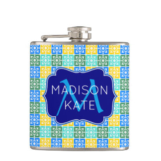 Trendy Resort Fashion Mediterranean Tiles Monogram Hip Flask