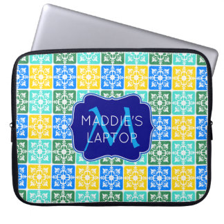 Trendy Resort Fashion Mediterranean Tiles Monogram Laptop Sleeve