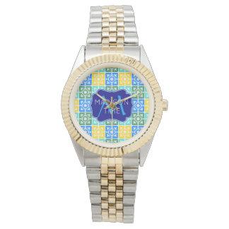 Trendy Resort Fashion Mediterranean Tiles Monogram Watch