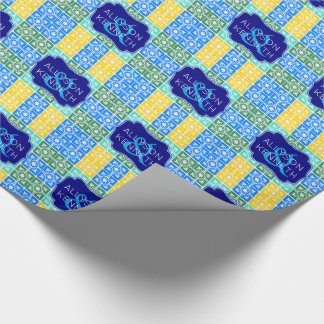 Trendy Resort Fashion Mediterranean Tiles Monogram Wrapping Paper