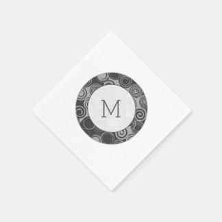 Trendy Retro Swirls Silver Gray Monogram Paper Napkins