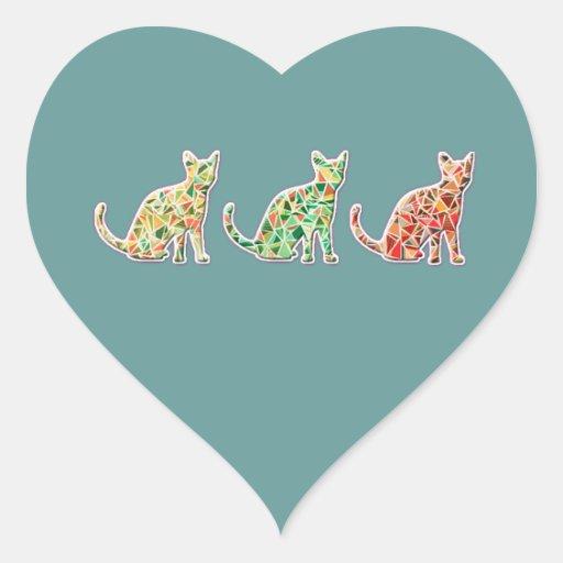 Trendy retro vintage mosaic cute cats monogram sticker