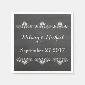 Trendy romantic damask lace chalkboard wedding disposable napkin