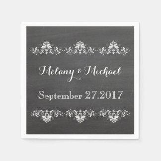 Trendy romantic damask lace chalkboard wedding paper napkin