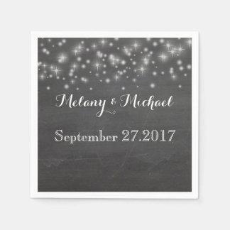 Trendy romantic sparkles chalkboard wedding paper serviettes