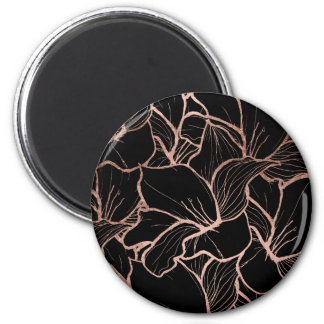 Trendy rose gold abstract handdrawn floral black 6 cm round magnet