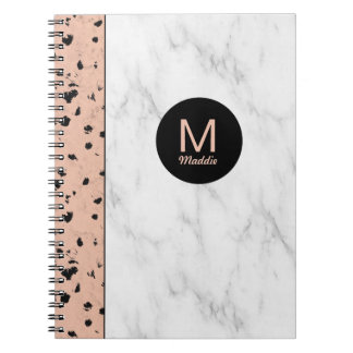 Trendy Rose Gold and Marble with Monogram Spiral Notebook