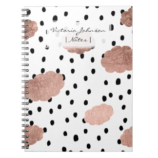 Trendy rose gold clouds black rain polka dots notebooks