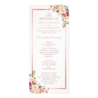 Trendy Rose Gold Frame Floral Wedding Program Rack Card