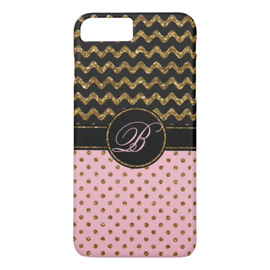 Trendy Rose Gold Glitter Black Chevron Monogrammed iPhone 8 Plus/7 Plus Case