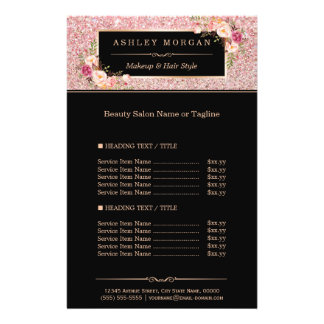 Trendy Rose Gold Glitter Sparkling Girly Floral 14 Cm X 21.5 Cm Flyer