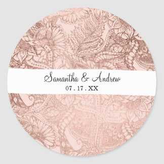 Trendy rose gold hand drawn flowers on blush pink classic round sticker