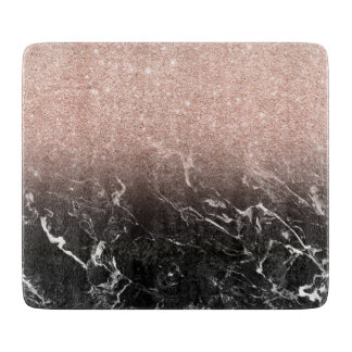 Trendy rose gold ombre black marble color block cutting board