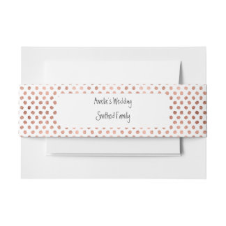 Trendy rose gold polka dots brushstrokes pattern invitation belly band