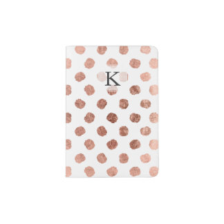 Trendy rose gold polka dots brushstrokes pattern passport holder