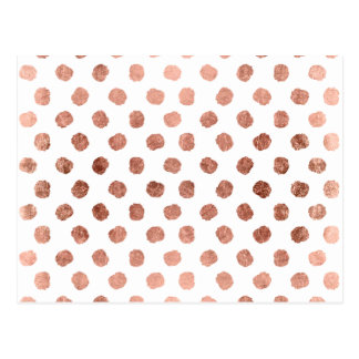 Trendy rose gold polka dots brushstrokes pattern postcard