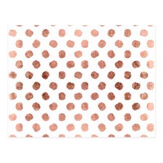 Trendy rose gold polka dots brushstrokes pattern postcard