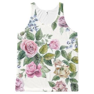 trendy,roses,pattern,shabby chic,elegant,girly,bea All-Over print tank top