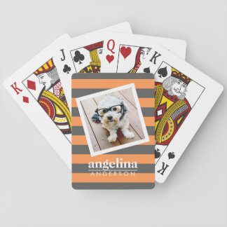 Trendy Rugby Striped Pattern Custom Name and Photo Playing Cards