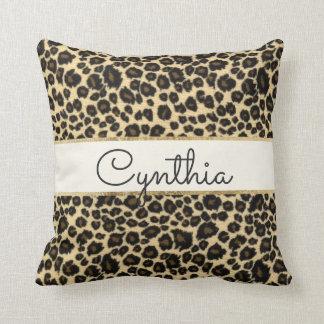 Trendy Safari Leopard Print Monogram Throw Pillow