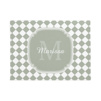 Trendy Sage Green Checked Monogrammed Name Doormat