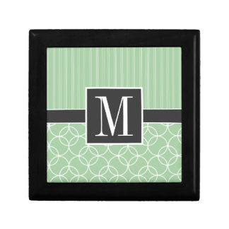 Trendy Sage Green Circles Small Square Gift Box