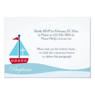 Trendy Sailboat Baptism RSVP Enclosure Cards