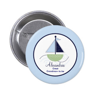 Trendy Sailboat Name Tag Button - Green Blue