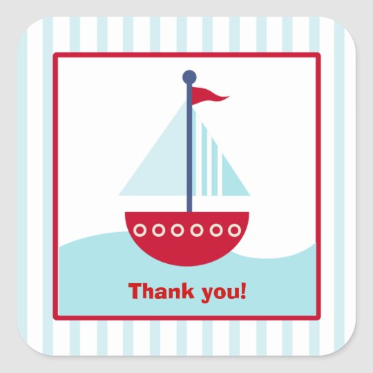 Trendy Sailboat Square Favour Stickers (6 Large)