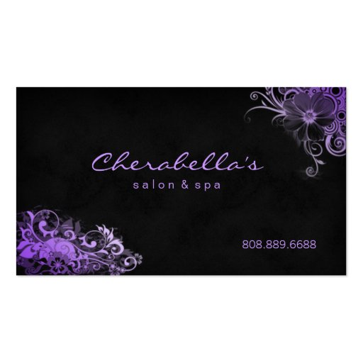 Trendy salon spa floral appointment card purple business card template