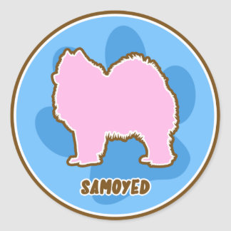 Trendy Samoyed Round Stickers