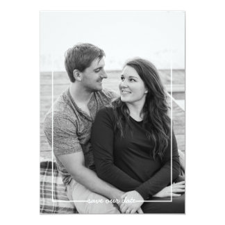 Trendy Save our date white frame photo card