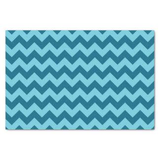 Trendy Shades of Blue Chevron Pattern Tissue Paper