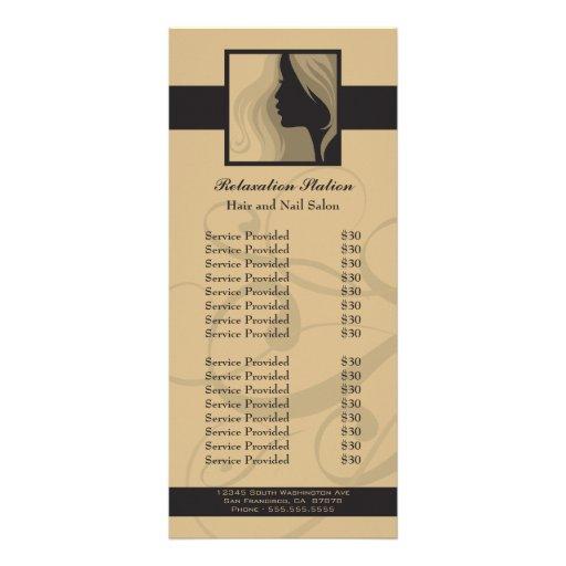 Trendy silhouette salon spa price rack card