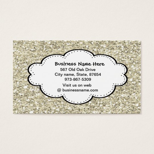 Trendy Silver  Glitter Business Card