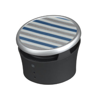 Trendy Silver Gray And Blue Stripes Pattern Speaker