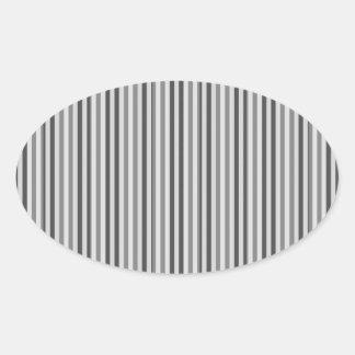 Trendy Silver Grey Horizontal Stripes Oval Sticker