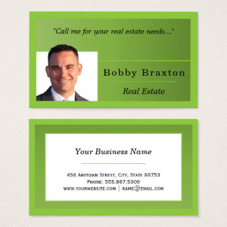 Trendy Simple Forest Green Edge Nested Business Card